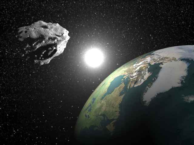 asteroide cayendo sobre la Tierra