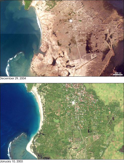 destrucción en la ciudad de Lhoknga, Sumatra