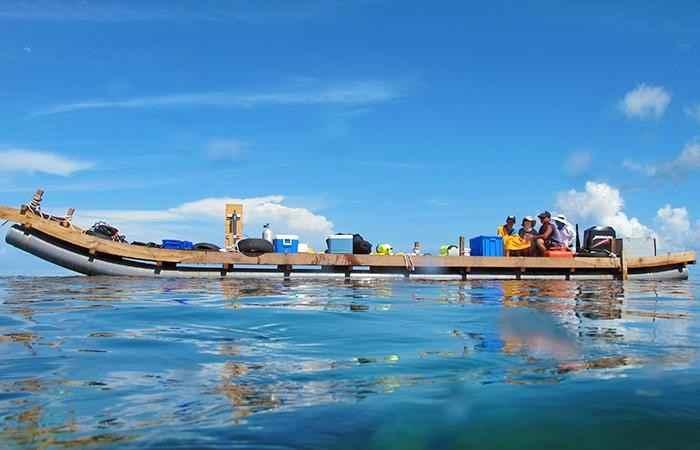 estudio de arrecifes de coral en el Mar del sur de China