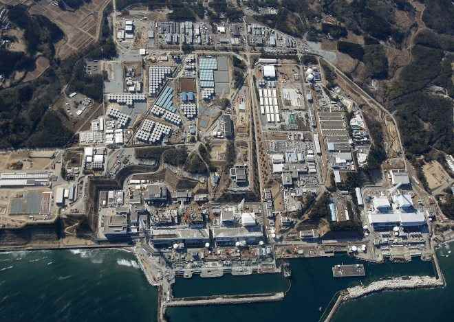 vista aérea de la central nuclear de Fukushima, Japón