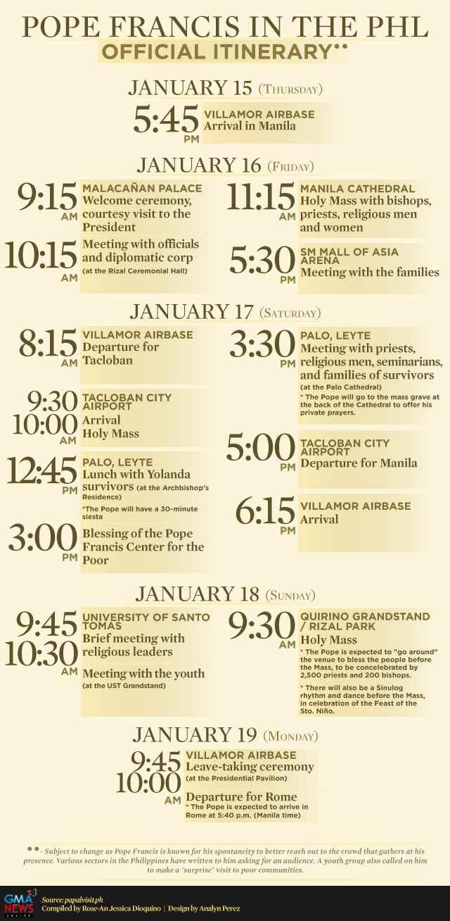 infografía del horario de la visita del Papa a Filipinas