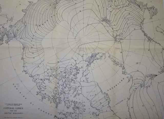 mapa de corrientes- ceánicas en el Ártico