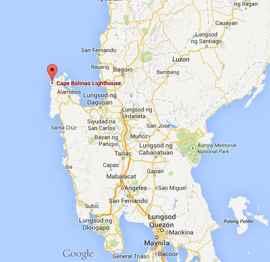 mapa del Faro del Cabo Bolinao, Filipinas