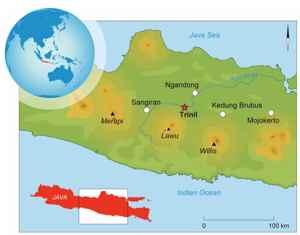 mapa de situación del sitio de Trinil, Java