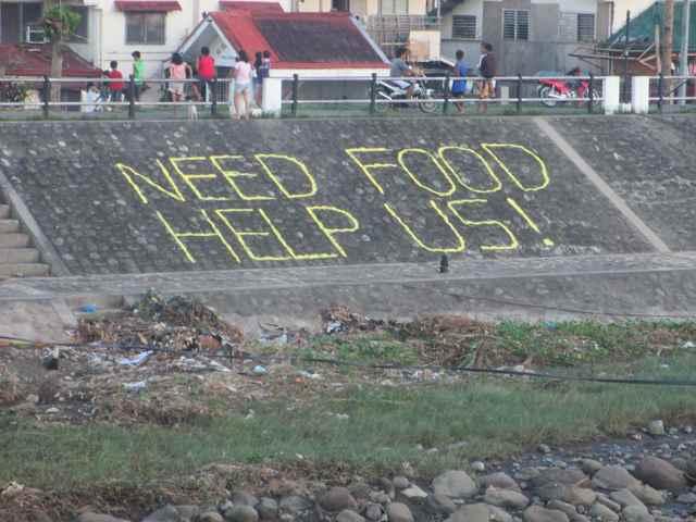 un mensaje de socorro en Filipinas