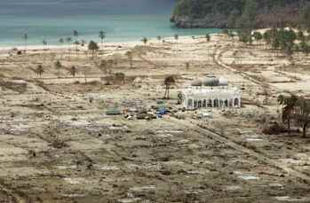 mezquita de Rahmatulá lampuuk en Lhoknga, Banda aceh tras el tsunami de 2004