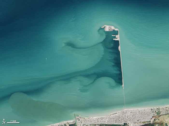muelle de Progreso, México desde satélite