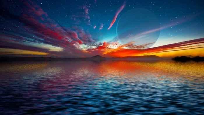 concepción artística de un océano en una súper Tierra