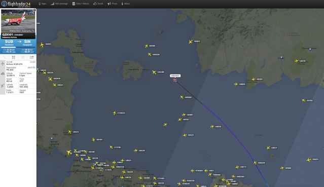posición estimada del vuelo QZ8501 de AirAsia