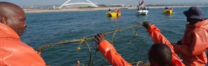 valla basada en repelente eléctrico para los tiburones
