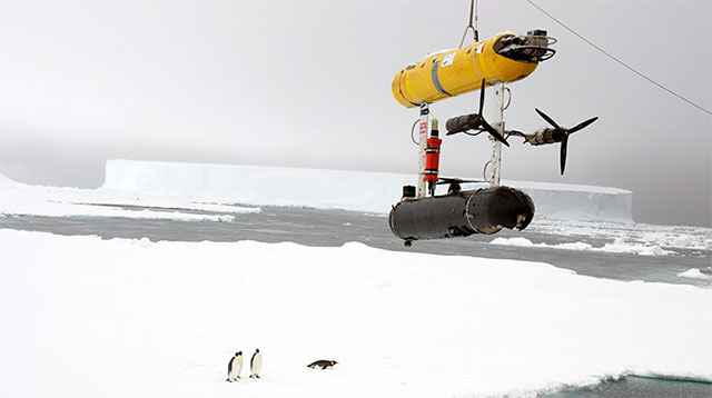 robot submarino mide grosor de hielo marino en la Antártida