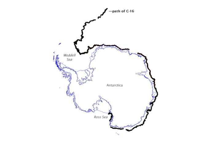 ruta del iceberg C-16
