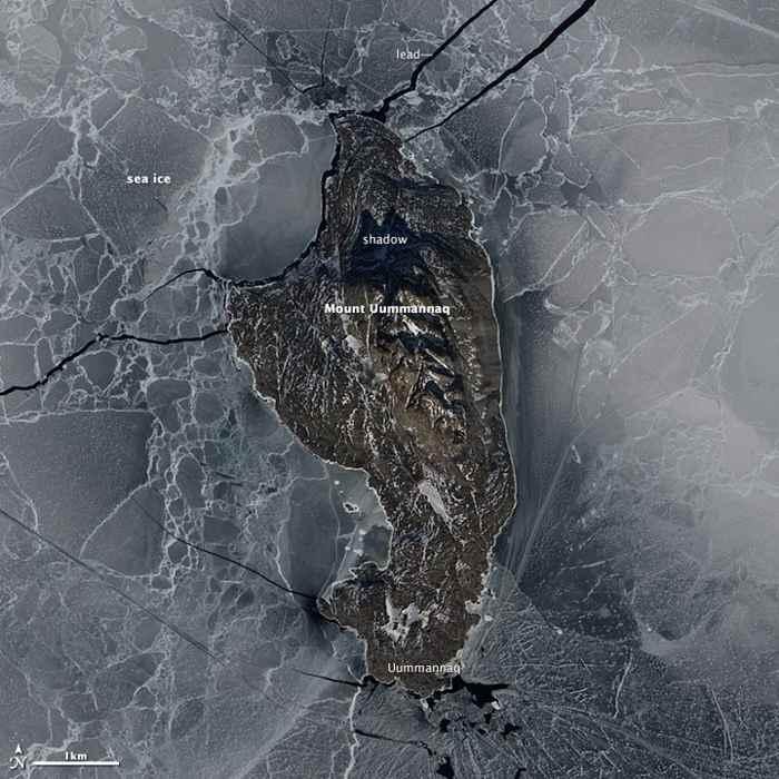 isla de Uummannaq desde satélite