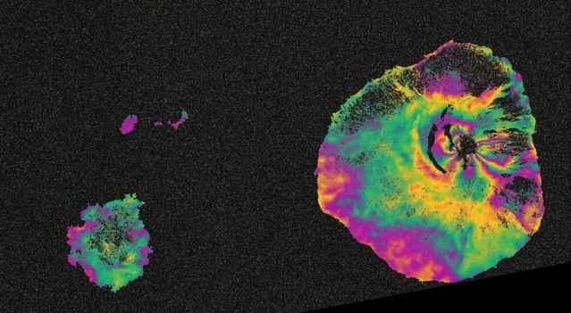 mapa de radar del volcán Fogo, Sentinel-1