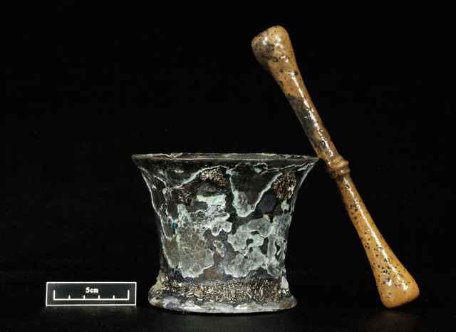mortero encontrado en el Queen Anne's Revenge