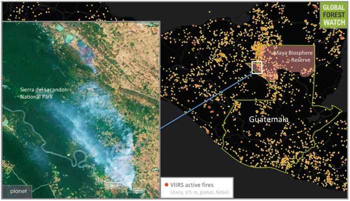 mapa de los incendios en Guatemala