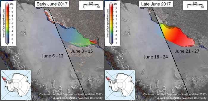 aceleración en la grieta de hielo en Larsen C de la Antártida