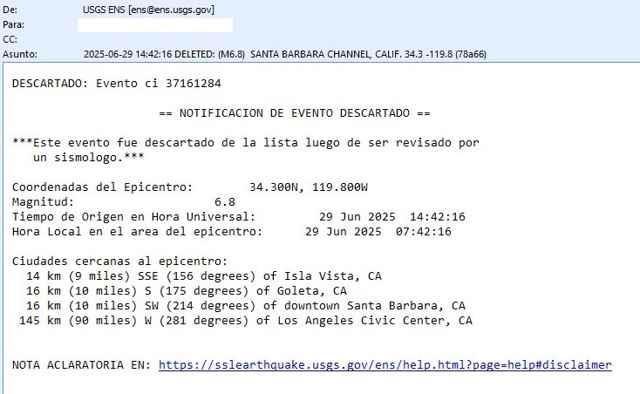 alerta de terremoto en Santa Bárbara (descartado)