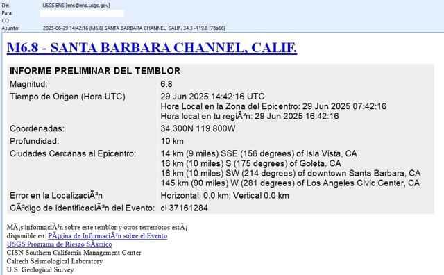 alerta de terremoto en Santa Bárbara