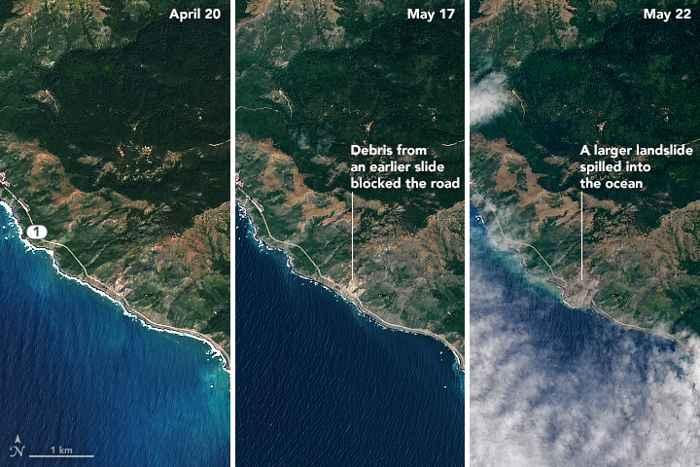 deslizamiento de tierras en carretera de California desde satélite