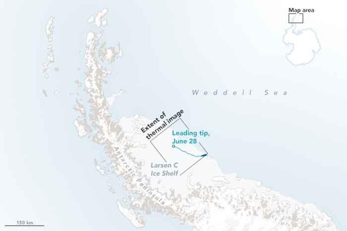 grieta de hielo en Larsen C, mapa