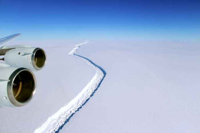 grieta de hielo en la plataforma Larsen C, vista aérea
