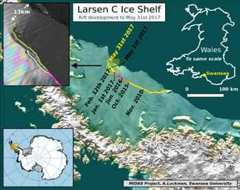 Avance desde 2010 de la grieta de hielo en Larsen C