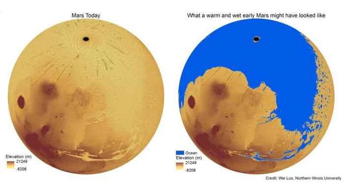 Marte hoy y con océano