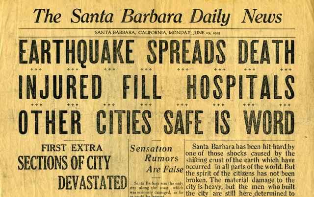 noticia del terremoto de Santa Barbara 1925