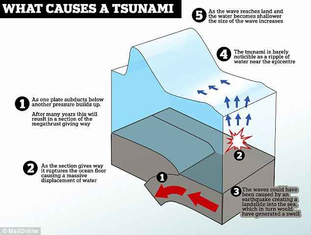formación de un tsunami por subducción de placas