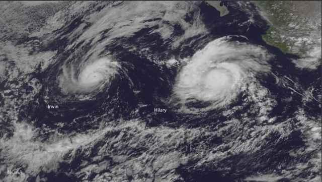 huracanes Irwin y Hilary