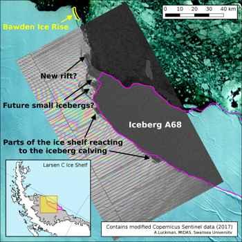 iceberg A68, mapa