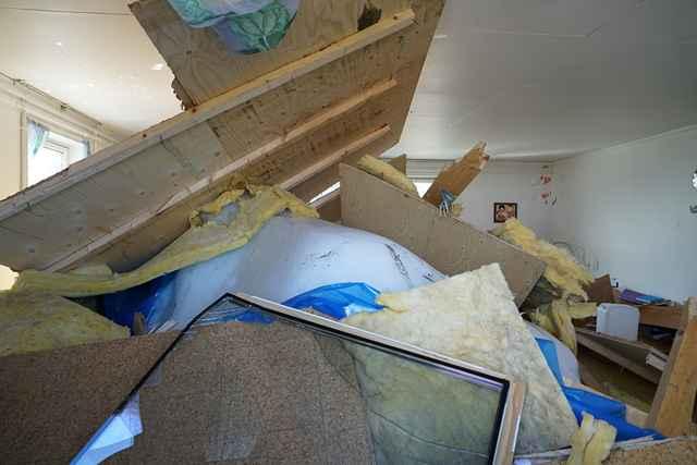 iceberg arrastrado por el tsunami dentro de una casa