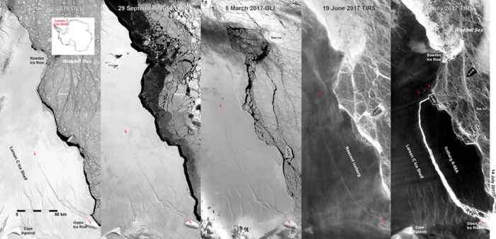 movimiento del iceberg A68 en la Antártida