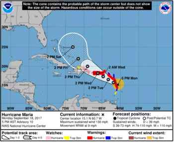 huracán María, recorrido previsto