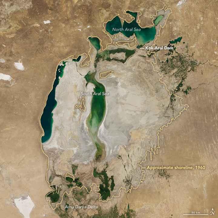 Mar de Aral desde satélite