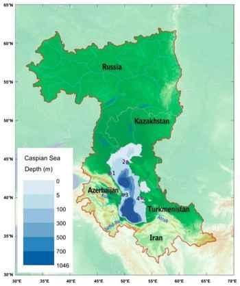 profundidades en el Mar Caspio