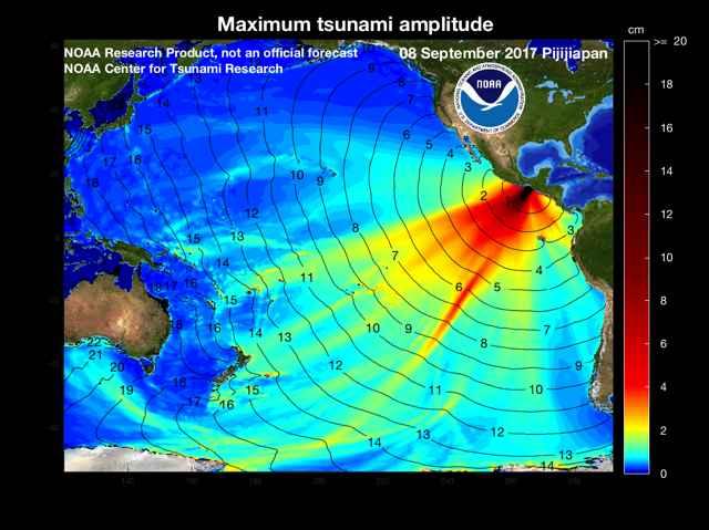 propagación del tsunami de México, septiembre 2017