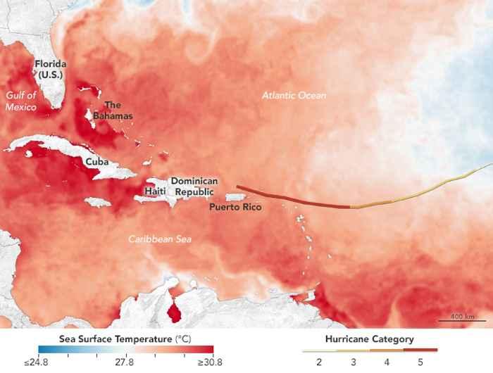 temperatura del agua para el huracán Irma
