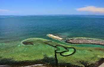 trampa de piedra para peces Doble Corazón Weir