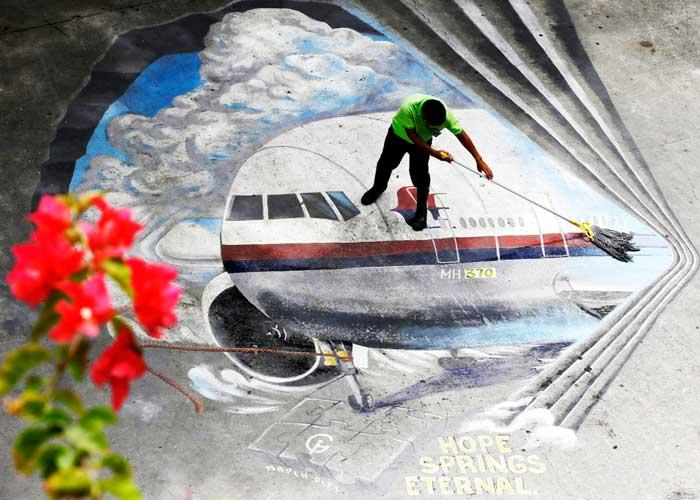 mural en Manila, Filipinas, recordando a las víctimas del vuelo MH370