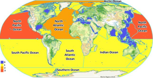 acidificación de los océanos desde satélite, carbonato