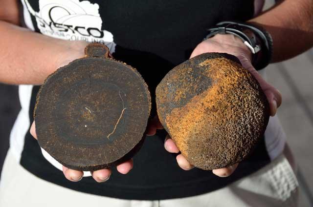 bolas de manganeso encontradas en el fondo del Atlántico