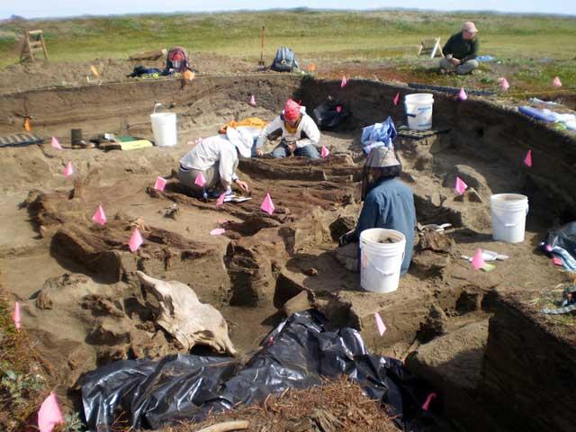 comercio precolombino, excavaciones en Rising Whale, Alaska