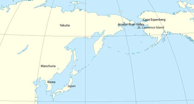 comercio precolombino, mapa distancia entre Alaska y Asia