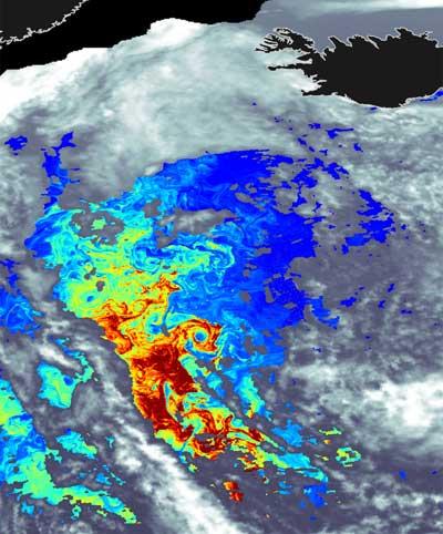 concentración de clorofila vista desde satélite