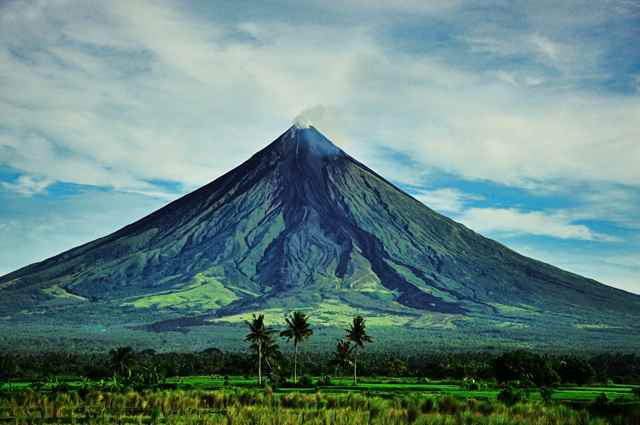 el cono perfecto del volcán Mayon