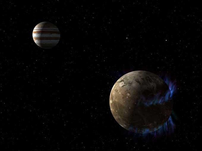 Ganímedes orbitando Júpiter