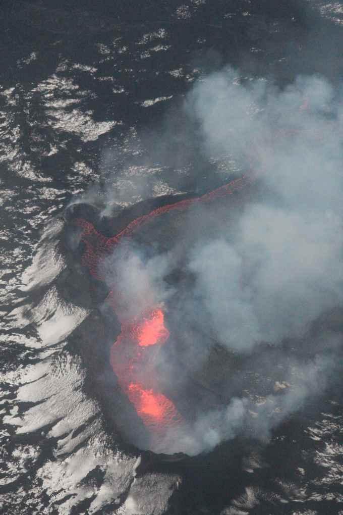 lava en el cráter Bauguren, Holuhraun, Islandia