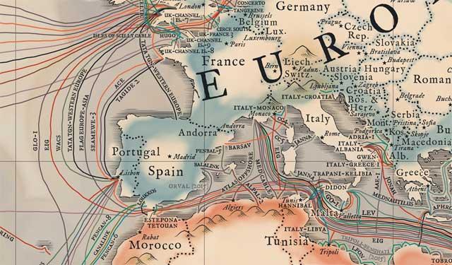mapa medieval de cables submarinos de Telegeography